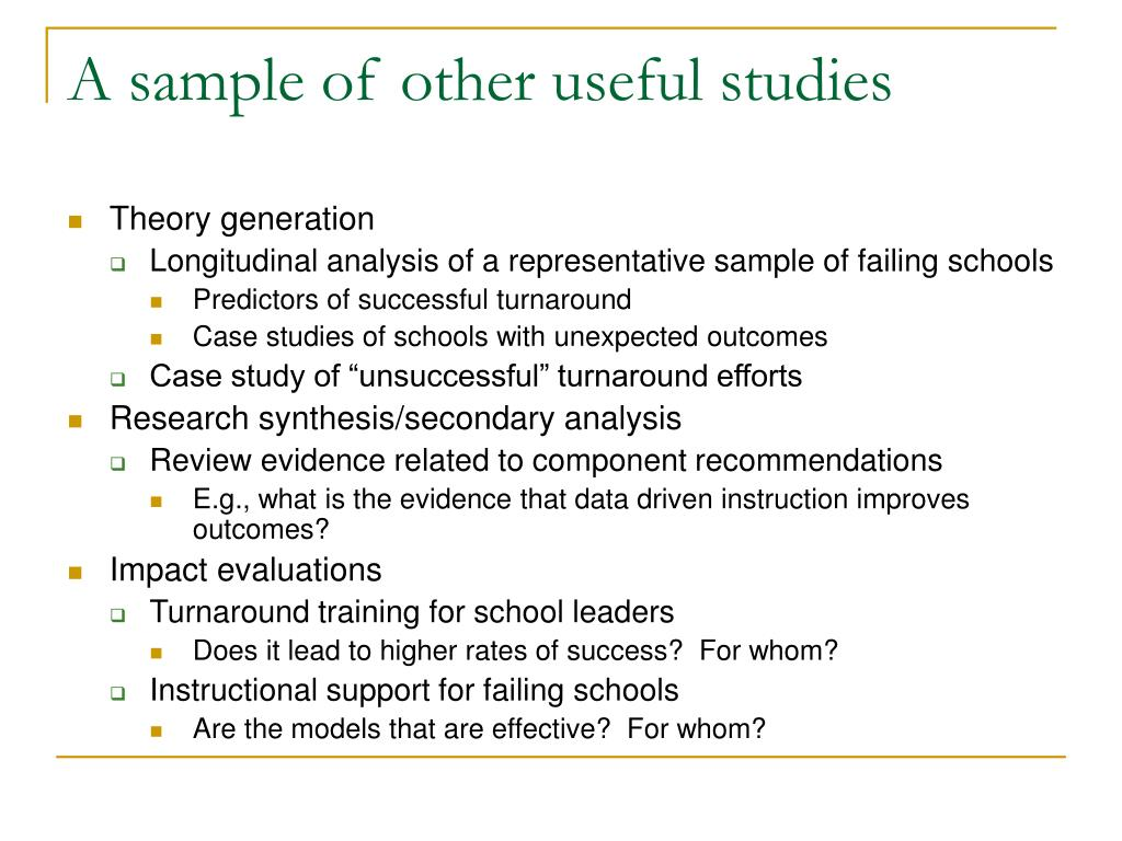 A sample of other useful studies