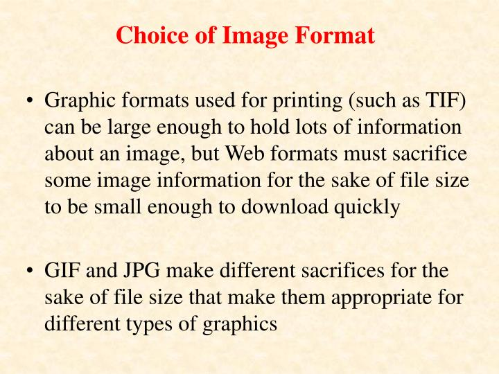 Choice of Image Format