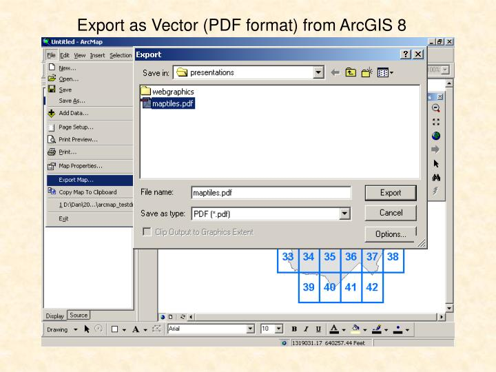 Export as Vector (PDF format) from ArcGIS 8