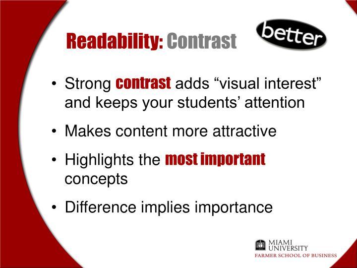 Readability: