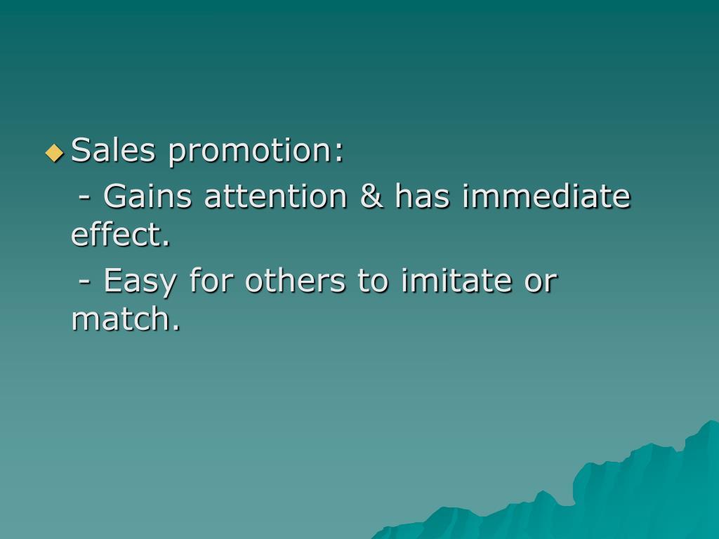 Sales promotion: