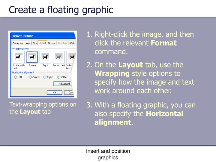 Create a floating graphic