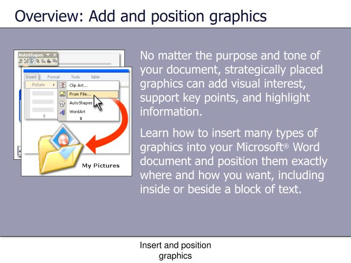 Overview: Add and position graphics