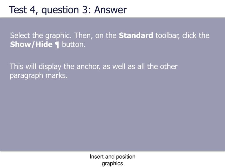 Test 4, question 3: Answer
