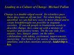 leading in a culture of change michael fullan