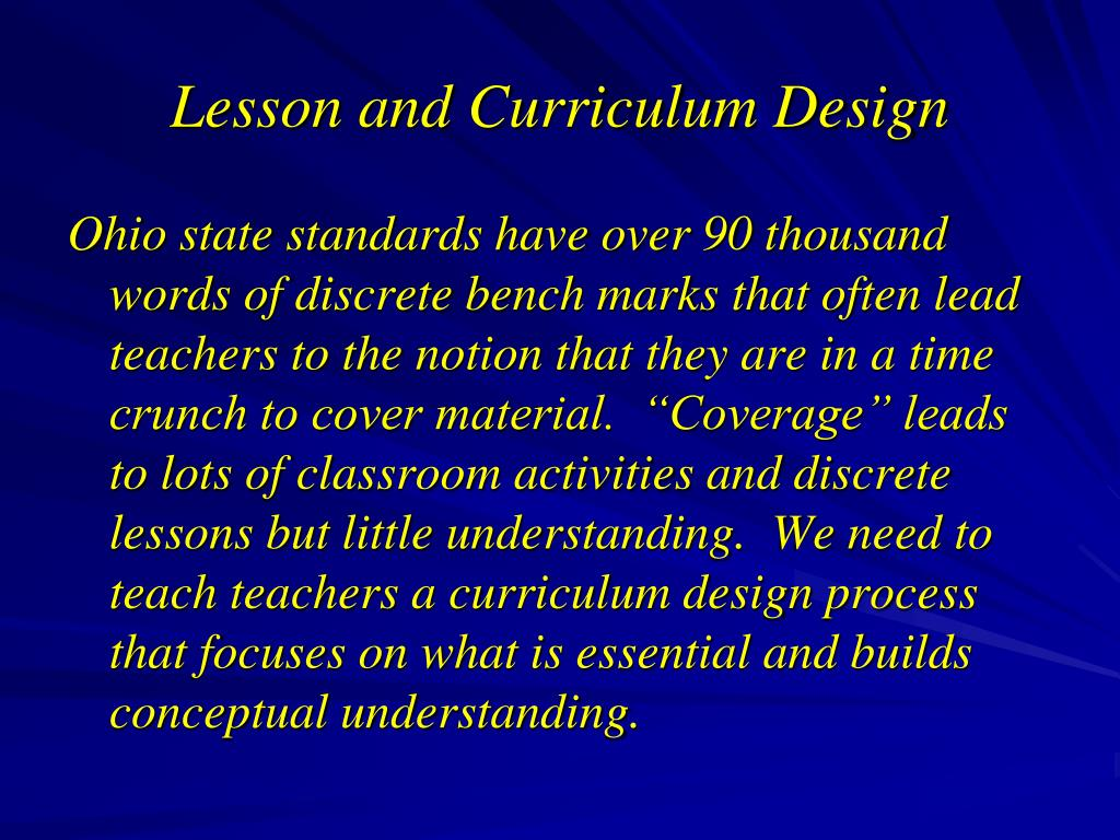 Lesson and Curriculum Design