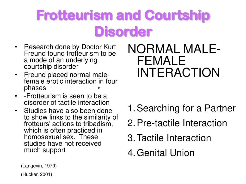 Frotteurism and Courtship Disorder