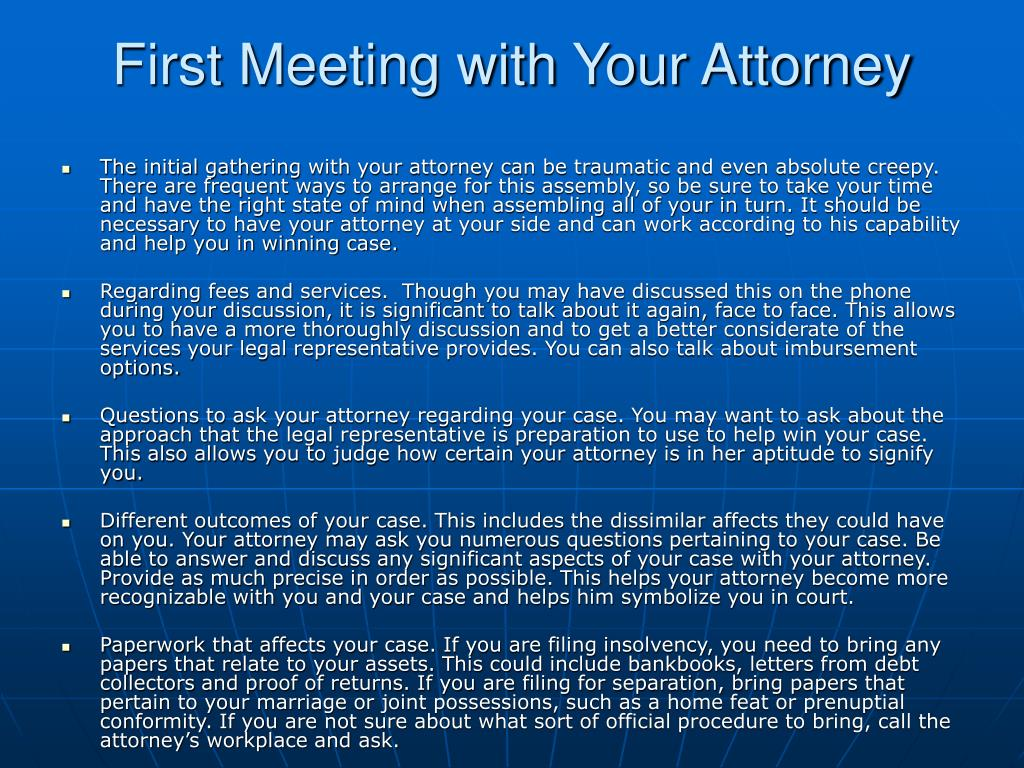first meeting with your attorney