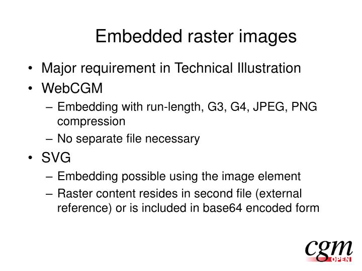 Embedded raster images
