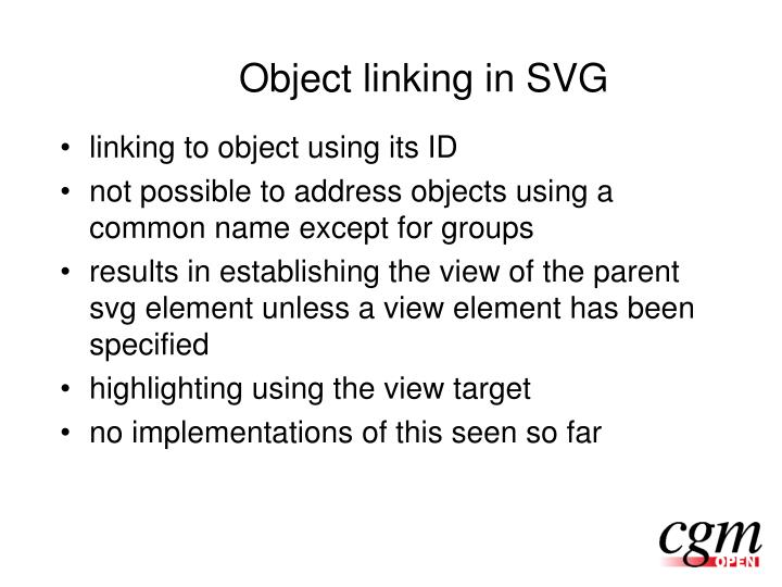 Object linking in SVG