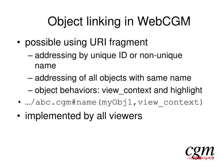 Object linking in WebCGM