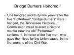 bridge burners honored