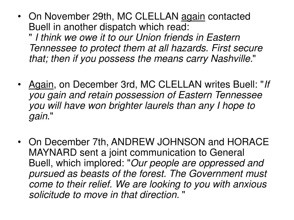 On November 29th, MC CLELLAN