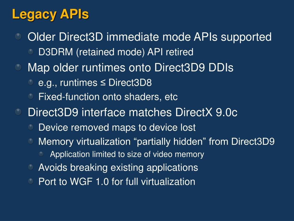 Legacy APIs