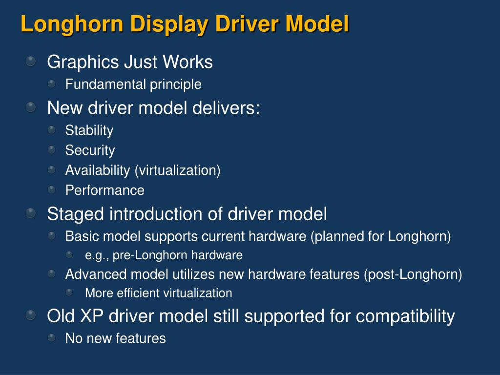 Longhorn Display Driver Model