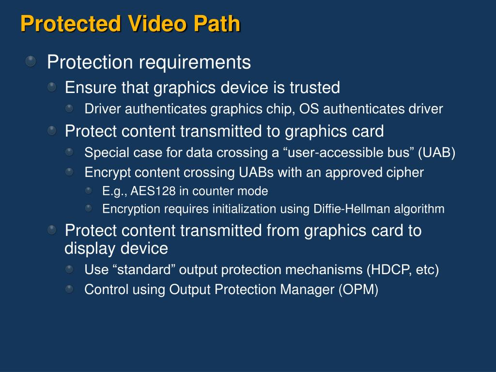 Protected Video Path