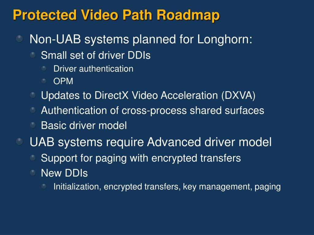 Protected Video Path Roadmap