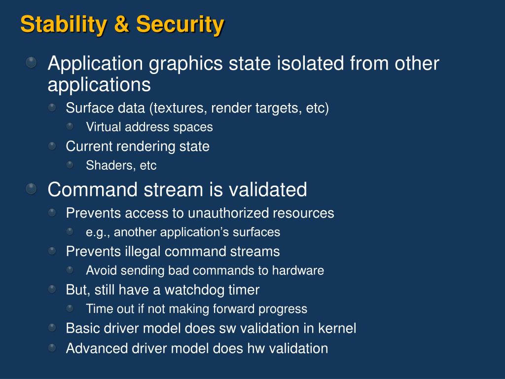 Stability & Security