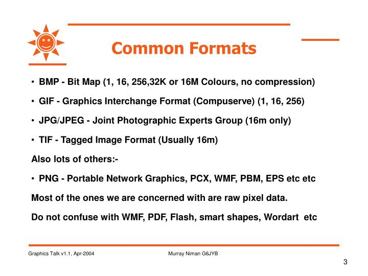Common formats