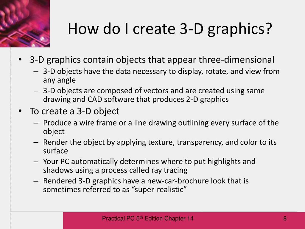 How do I create 3-D graphics?