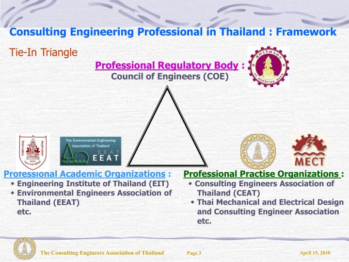 Consulting engineering professional in thailand framework