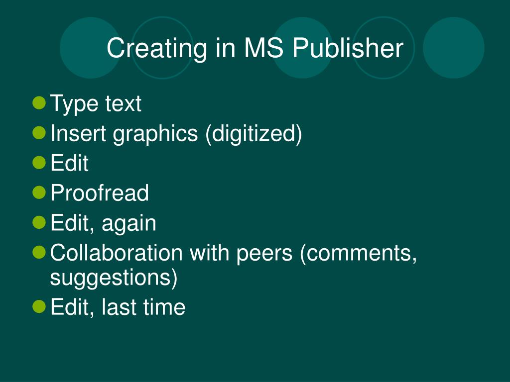 Creating in MS Publisher