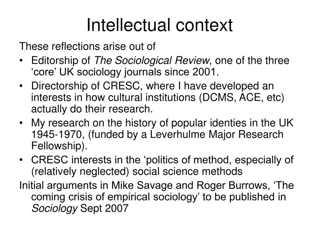 Intellectual context