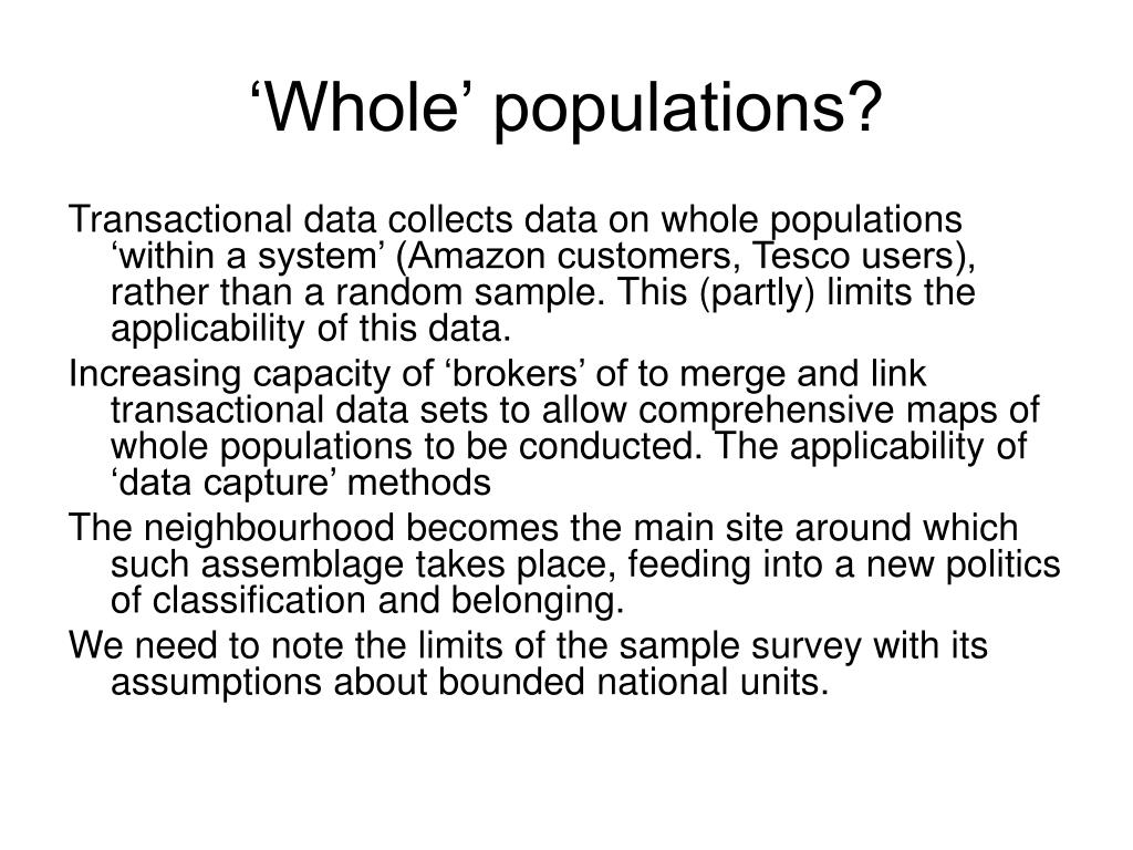 'Whole' populations?