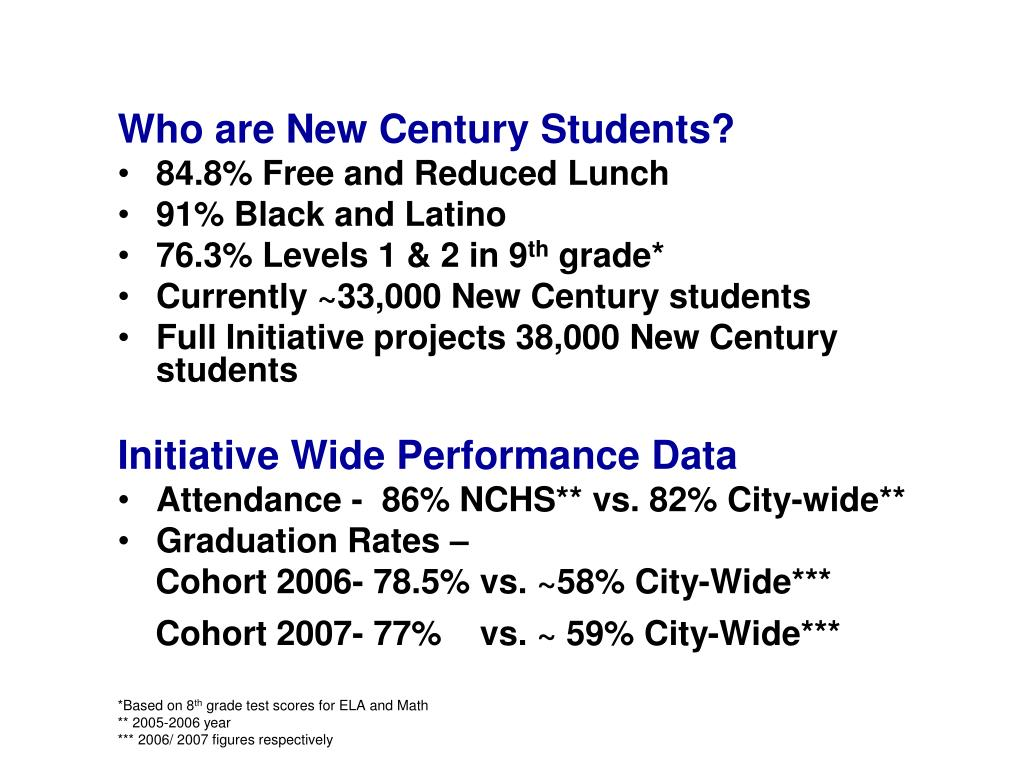 Who are New Century Students?