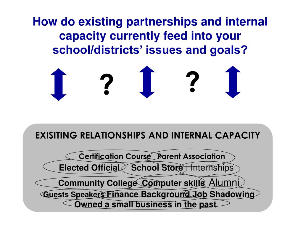 How do existing partnerships and internal capacity currently feed into your school/districts' issues and goals?