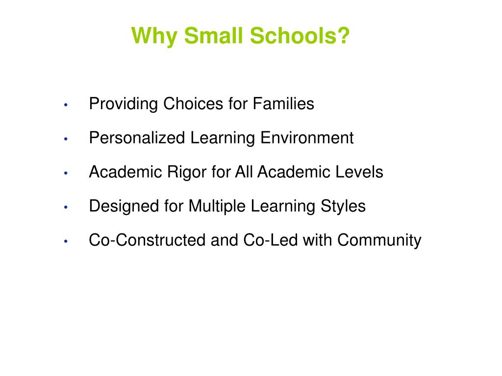 Why Small Schools?