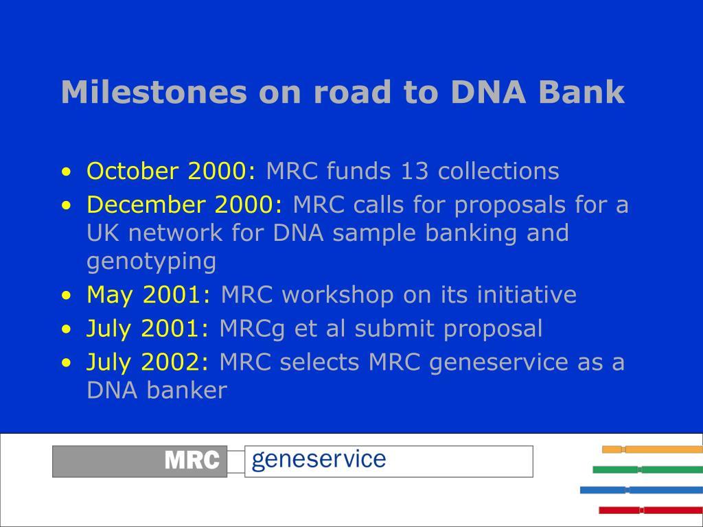 Milestones on road to DNA Bank