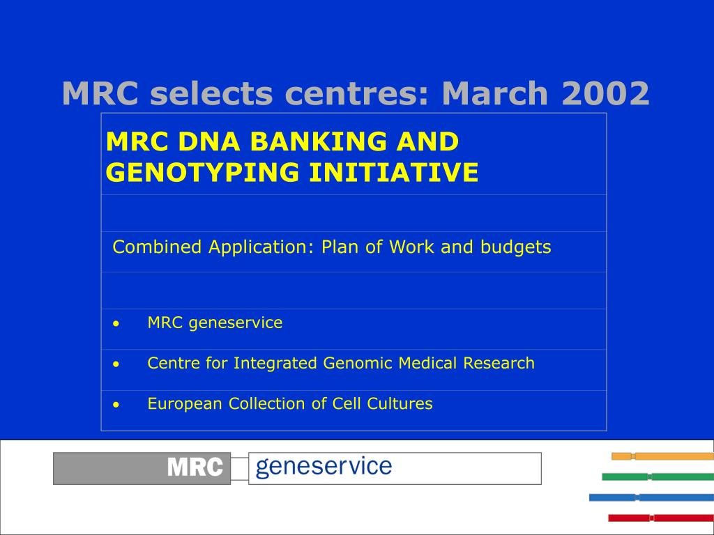 MRC DNA BANKING AND GENOTYPING INITIATIVE