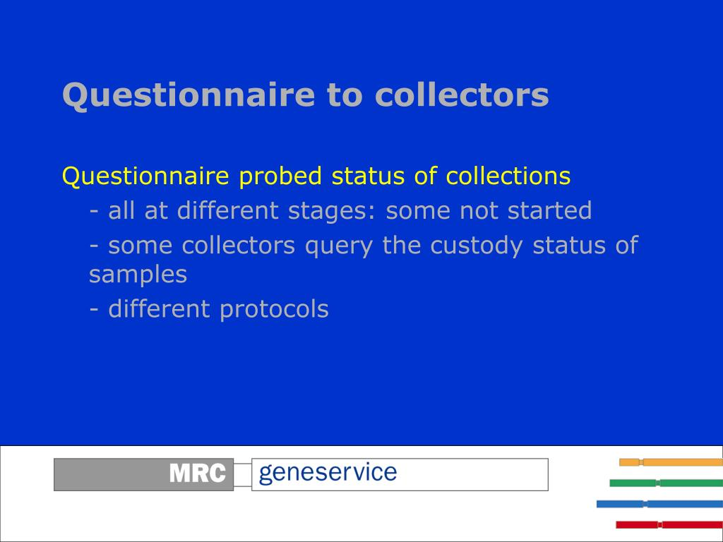 Questionnaire to collectors