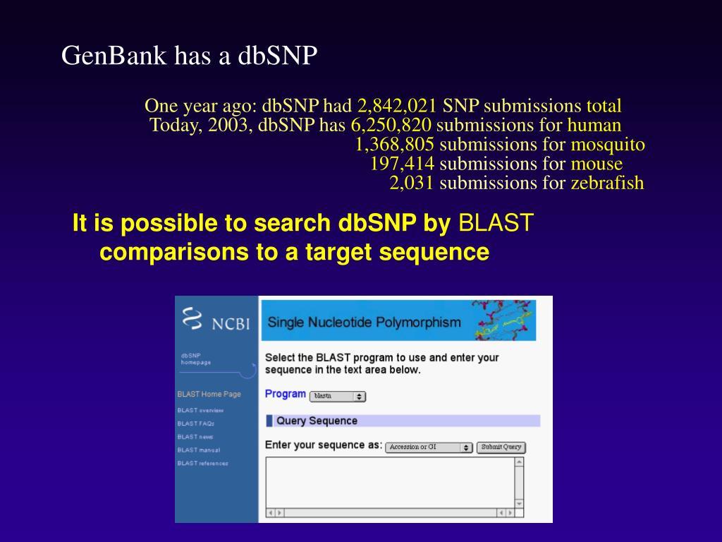 GenBank has a dbSNP
