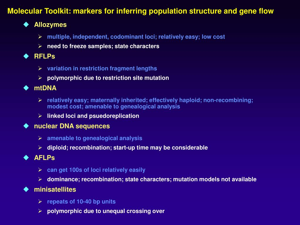Molecular Toolkit: markers for inferring population structure and gene flow