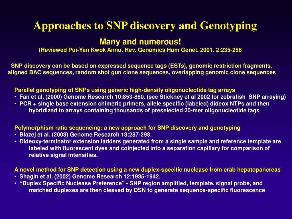 Approaches to SNP discovery and Genotyping