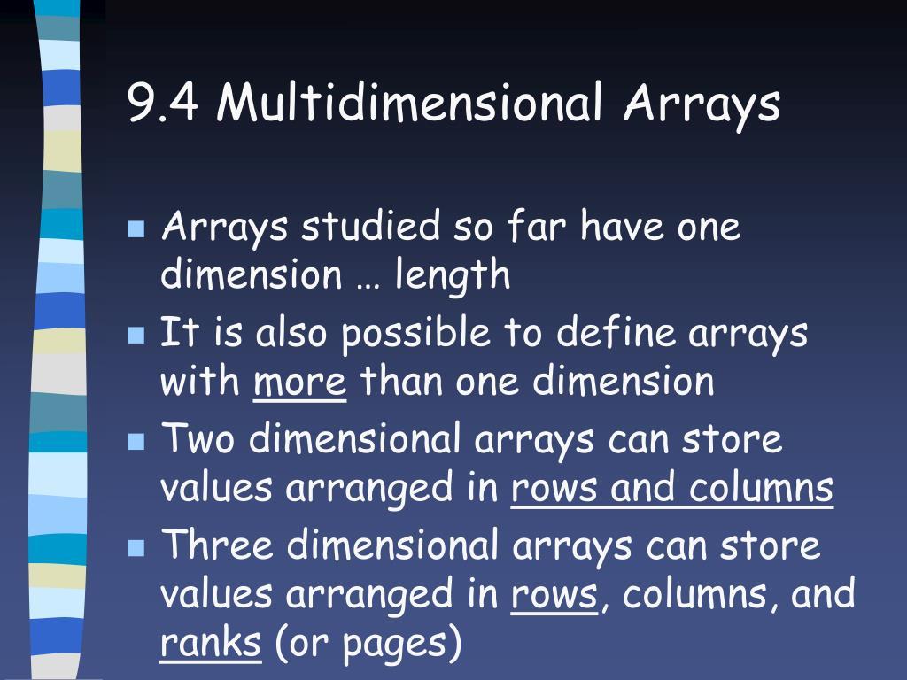 9.4 Multidimensional Arrays