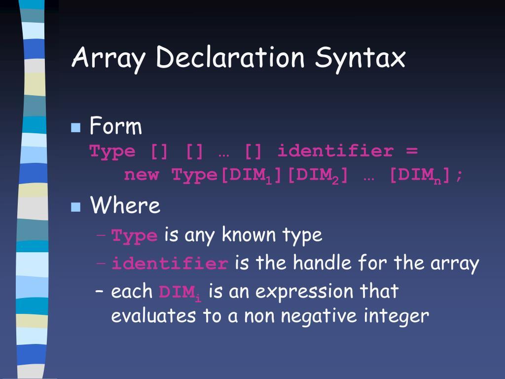 Array Declaration Syntax
