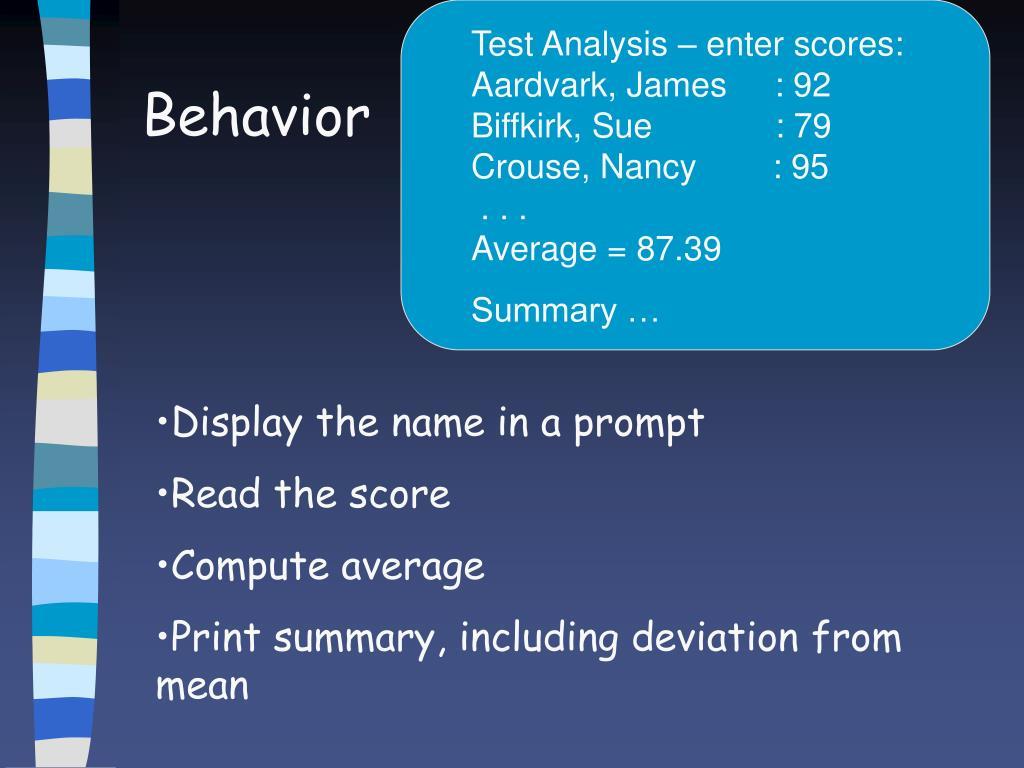 Test Analysis – enter scores: