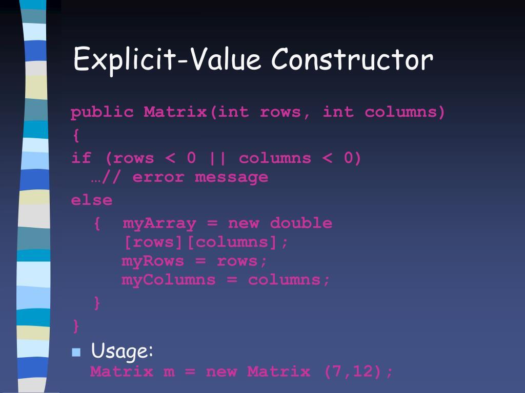 Explicit-Value Constructor