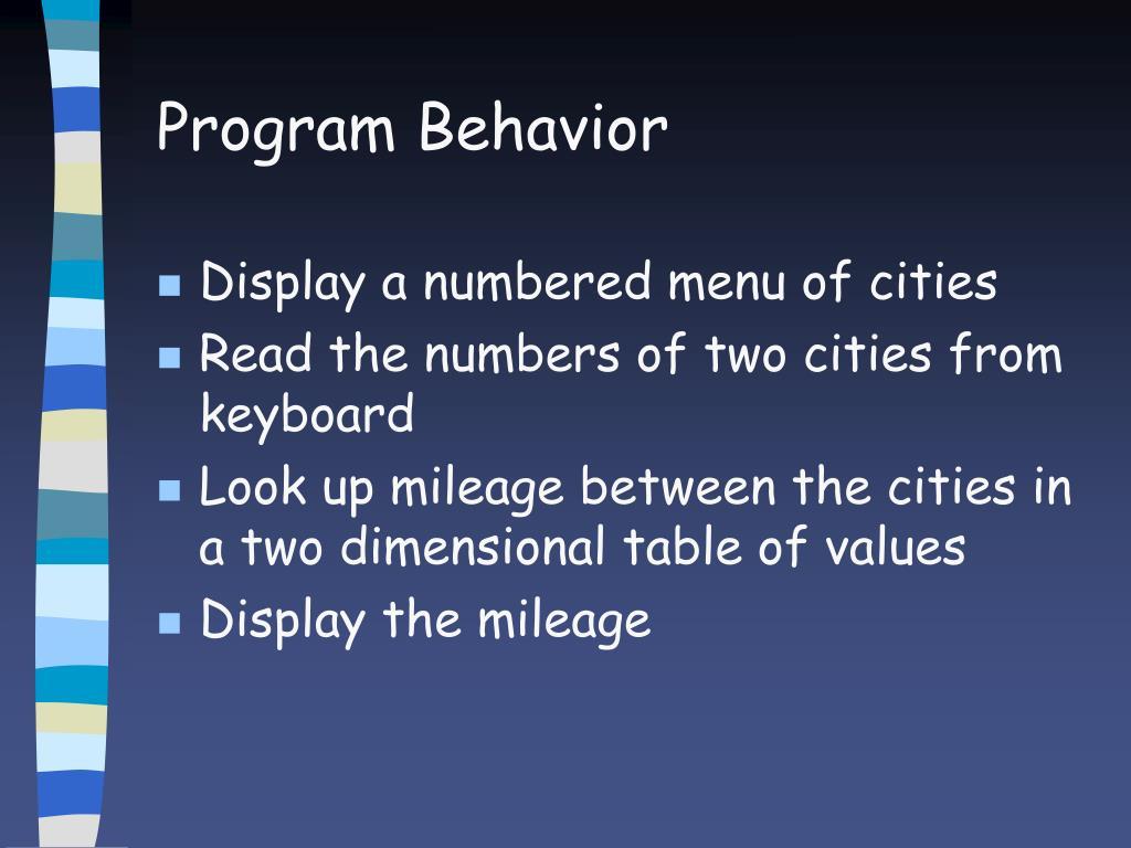 Program Behavior