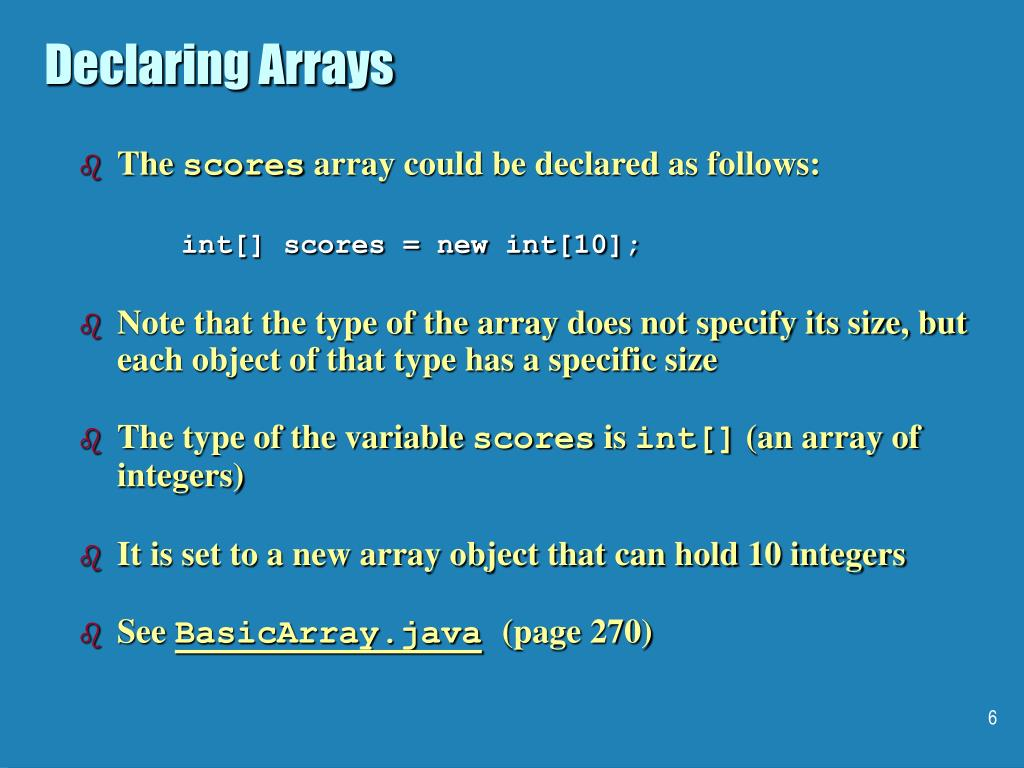 Declaring Arrays