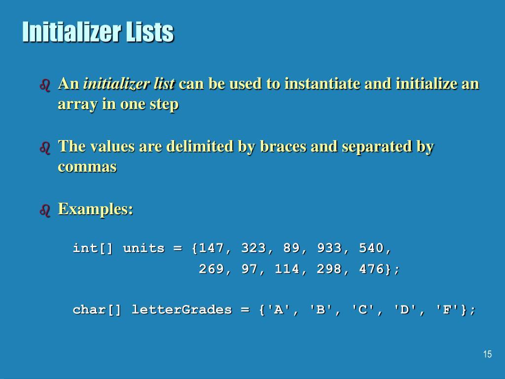 Initializer Lists