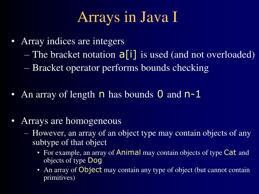 Arrays in Java I