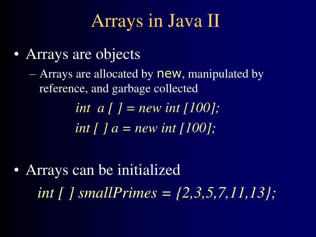 Arrays in Java II