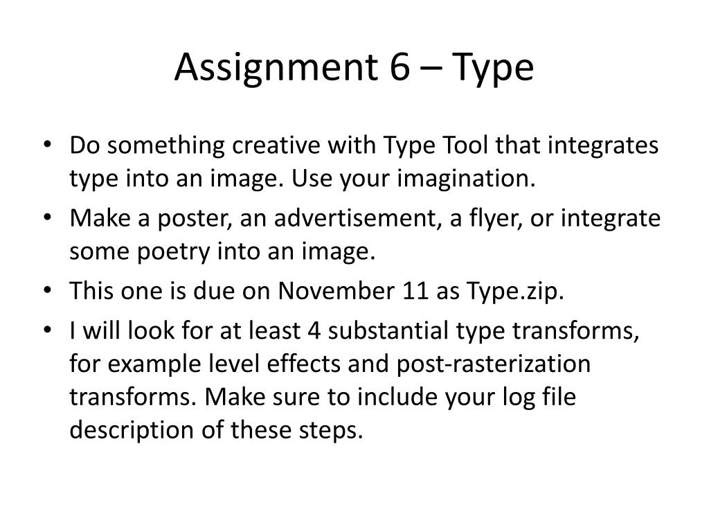 Assignment 6 – Type