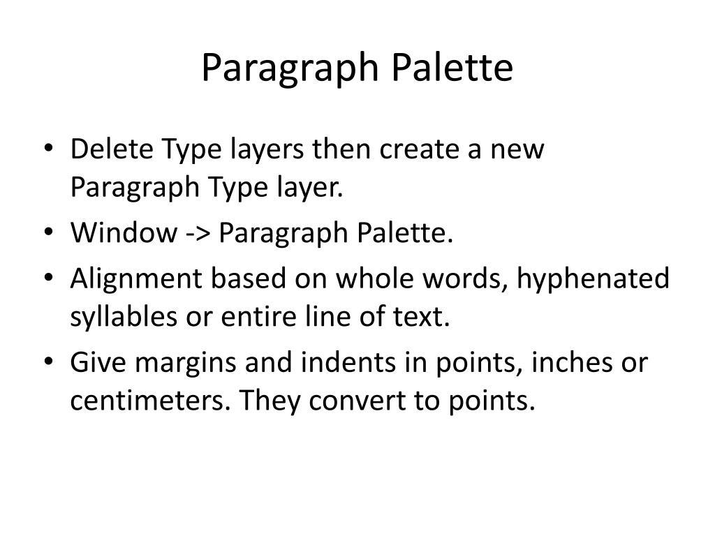 Paragraph Palette