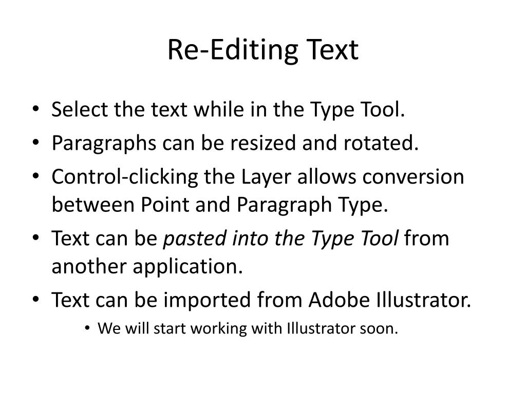 Re-Editing Text