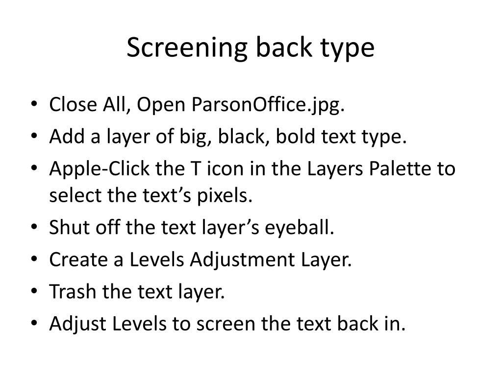 Screening back type